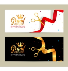 Grand Opening invitation banner Golden Ribbon and vector image