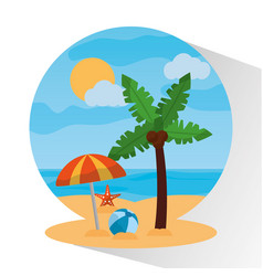 landscape beach palm tree umbrella ball starfish vector image