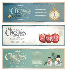 Merry christmas retro banner set vector