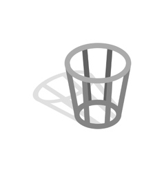Metal trash basket icon isometric 3d style vector