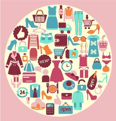 Shopping and fashion icons - background vector image vector image