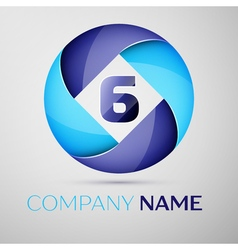 Six number colorful logo in the circle template vector image