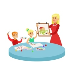 Two children in art class drawing cartoon vector