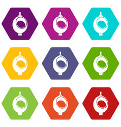 Urinal or chamber pot for men icon set color vector