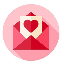 Valentine Day Love Postcard with Envelope Circle vector image vector image