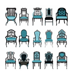 Vintage chair furniture set collection vector