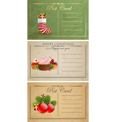 Vintage christmas postcards vector image vector image