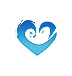 waves heart logo vector image vector image