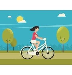 Young woman rides white bicycle vector image