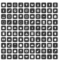 100 nutrition icons set black vector image