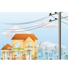 A big house near an electrical post vector