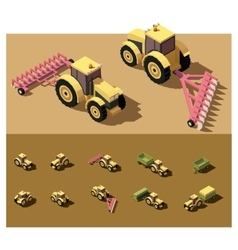 Isometric low poly tractor vector