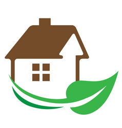 House and green leaf vector