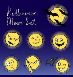 Halloween decorative set of moon elements vector