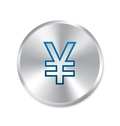 Yen silver sign isolated currency icon vector