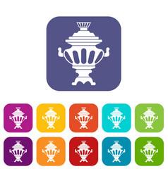 Russian tea samovar icons set vector
