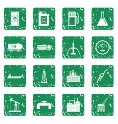 Oil industry items icons set grunge vector