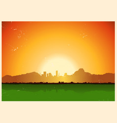 Vintage city in mountains landscape vector