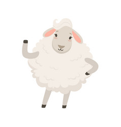 Cute white sheep character waving its hand funny vector