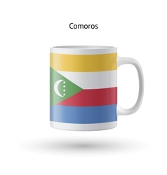 Comoros flag souvenir mug on white background vector