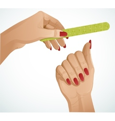 Woman hands one hand is holding a nail file vector