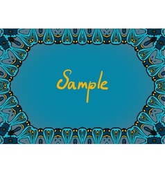 Hand drawn frame in indian style dominate blue vector