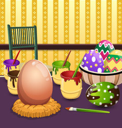 Painting easter eggs on table vector