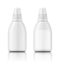 White plastic bottle template vector