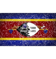 Flags swaziland with broken glass texture vector