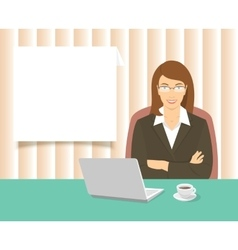 Business woman sitting at the office desk vector