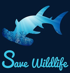 Save wildlife poster with whaleshark vector