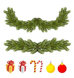Traditional christmas set for festive decorations vector