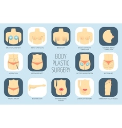 Plastic surgery body icons flat design vector