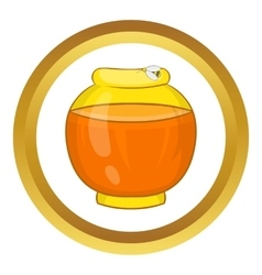 Bank with honey icon vector