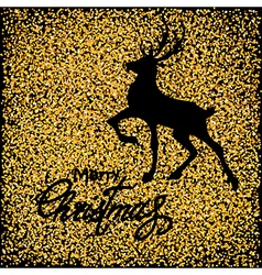 Black deer on gold vector