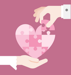 Bride and grooming hands holding heart jigsaw vector