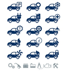 Car service icons blue set vector image vector image