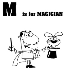 Cartoon magician with letter vector image