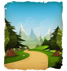 cartoon mountains landscape background vector image