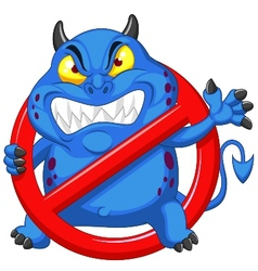 Cartoon stop virus - blue virus in red alert sign vector