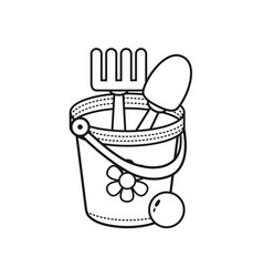 Childrens toy bucket vector