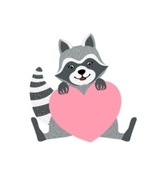 Cute raccoon character with giant pink heart vector