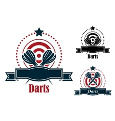 Darts sports emblems with banners vector image vector image