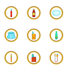 Electronic smoke device icon set cartoon style vector