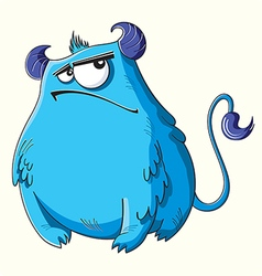 Funny cartoon fluffy blue monster vector