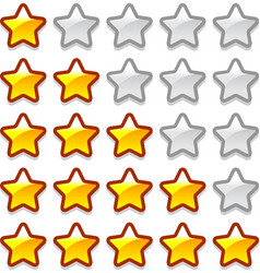 Game web rating stars set vector image vector image