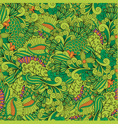 green zentangle leaves ornamental pattern vector image vector image