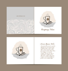 Greeting card design with coffee cup vector