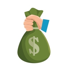 Hand hold bag of money dollar icon vector