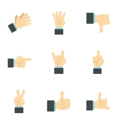 Hand icons set flat style vector
